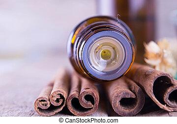 olio, essenziale, cannella