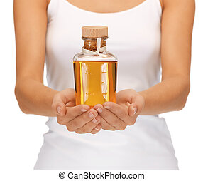 olio, femmina, bottiglia, mani