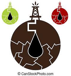 olio, fracking, icona