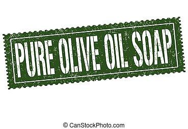 olio, francobollo, sapone, oliva, segno, o