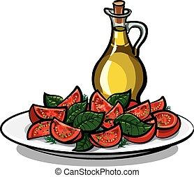 olio, insalata