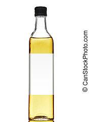 olio, isolato, etichetta, bottiglia, vuoto, oliva, bianco