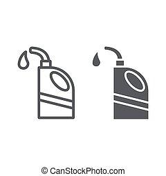 olio, lineare, segno, auto, scatola di latta, fondo., vettore, motore, modello, grafica, icona, linea, bianco, riparazione, glyph