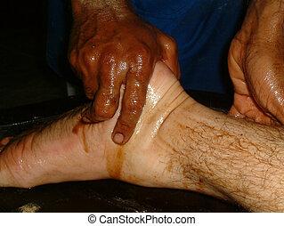 olio, massaggio, piede