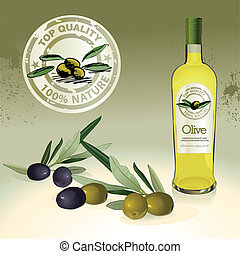 olio oliva, bottiglia, etichetta, e, ogive