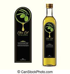 olio oliva, bottiglia, etichetta