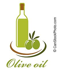 olio oliva, bottiglia, icona