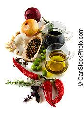 olio oliva, e, aceto balsamico, con, mediterraneo, spezie