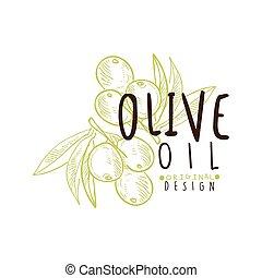 olio oliva, etichetta, con, ramo olivastro