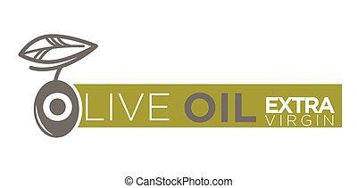 olio oliva, extra, vergine, prodotto, vettore, etichetta, sagoma