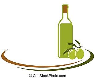 olio oliva, fondo, bottiglia