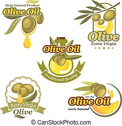 olio oliva, vettore, icone, etichetta prodotto, sagoma, set