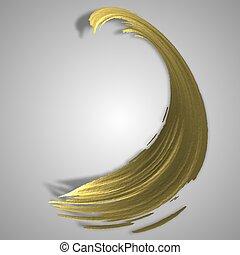 olio, oro, forma, vernice, luce, strokes., rendering., acquarello, fondo., macchia, spazzola, 3d