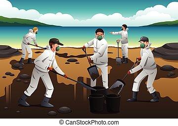 olio, persone, pulizia, secondo, fuoriuscita