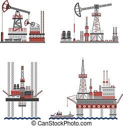 olio, petrolio, piattaforma, set
