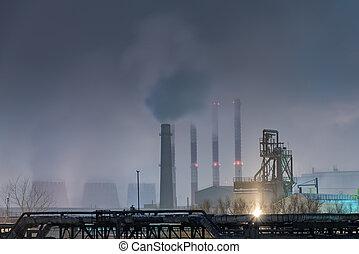 olio, pieno, grande, luna, raffineria, parte, notte, nebbioso