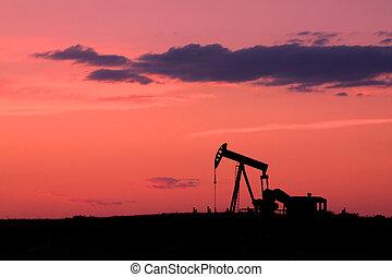 olio, pumpjack, a, tramonto