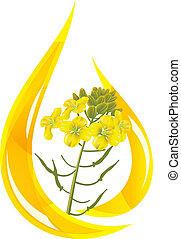 olio, senape, flower., oil., goccia, stilizzato