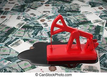 olio, sopra, rubles, russo, pumpjack, rovesciato, rosso