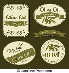 oliv, årgång, etiketter, olja
