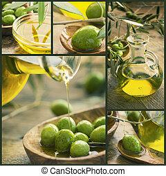oliv, collage, olja