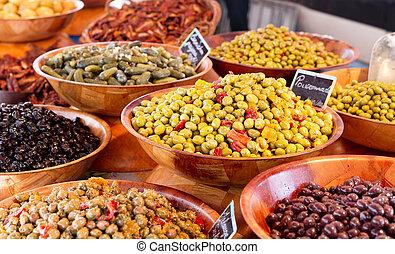 oliv, olika, marknaden