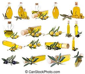oliv, sätta, isolerat, olja, vit