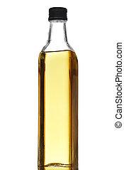 oliva, bianco, olio, isolato, bottiglia