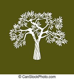 oliva, bianco, vettore, albero.