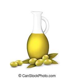 oliva, bottiglia, ogive, oil., ramo