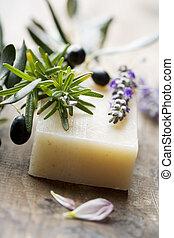 oliva, fatto mano, sapone