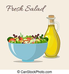 oliva, fresco, olio, insalata