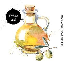 oliva, láhev, vektor, illustration., rukopis, nahý, akvarel