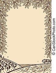 oliva, marrone, cornice, retro, verticale