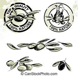 oliva, ogive, olio, etichette