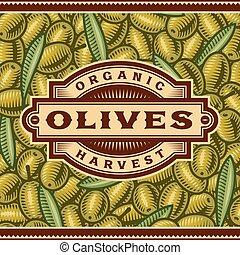 oliva, raccogliere, retro, etichetta