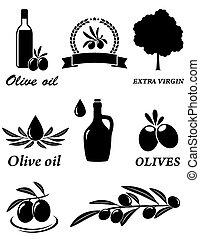 oliva, set, icone