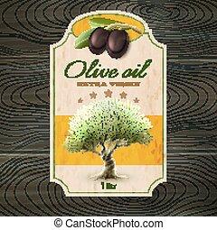 oliva, stampa, olio, etichetta