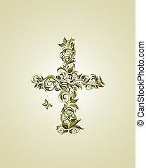 oliva, vendemmia, floreale, croce