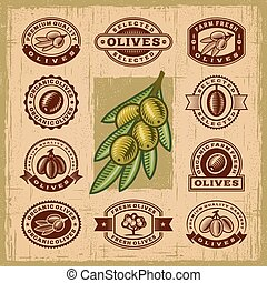 oliva, vendemmia, francobolli, set