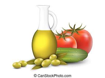 oliva, verdure fresche, set, olio