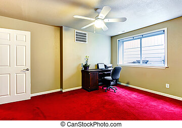 Olive and red office room with desk