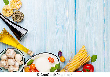 olive, basilicum, mozzarella, olie, tomaten