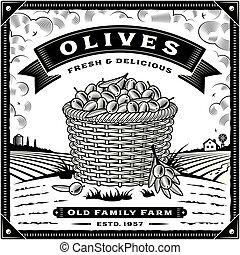 olive, black , oogsten, retro, witte , landscape, etiket