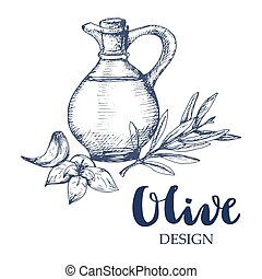 Olive bottle illustration.