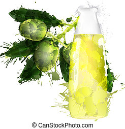 Olive branch and bottle of oil made of colorful splashes