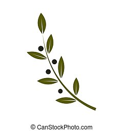 Olive Branch Flat colorful Icon on white background. Vector Illustration.