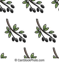 Olive branch Greece symbol seamless pattern Greek food