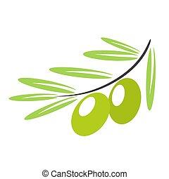 Olive branch label on white background, stock vector illustration
