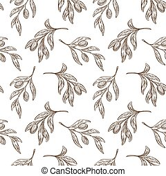 Olive branch seamless pattern, plant and Greek product